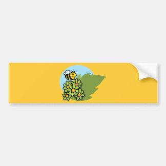 2138-Mascot-Cartoon-Character-Bee-Flying-Over-Flow Bumper Sticker