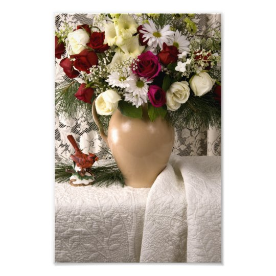 2159 Floral Still Life on Quilt Christmas Photo Print