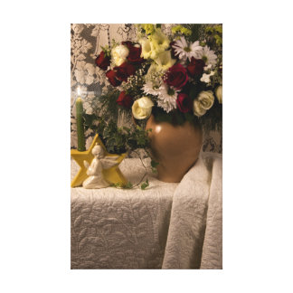 2162 Angel Vase Floral Still Life on Quilt Canvas Print