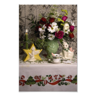 2162 Angel Vase Floral Still Life on Quilt Photo