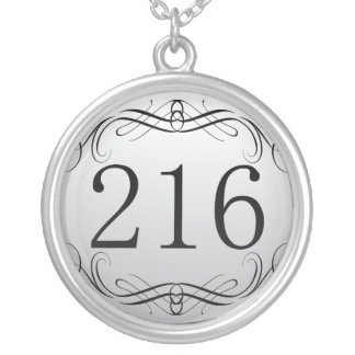 216 Area Code Silver Plated Necklace