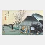 21. 丸子宿, 広重 Maruko-juku, Hiroshige, Ukiyo-e Pegatina Rectangular