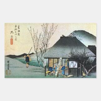 21. 丸子宿, 広重 Maruko-juku, Hiroshige, Ukiyo-e Rectangular Sticker