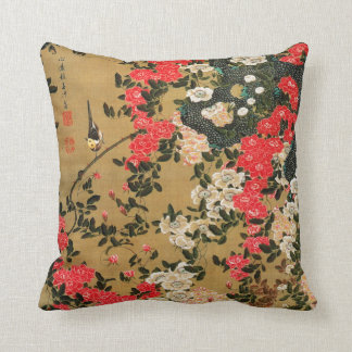 21. 薔薇小禽図, 若冲 Roses & Small Bird, Jakuchū Throw Pillow