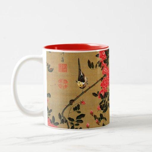 21. 薔薇小禽図, rosas y pequeño pájaro, Jakuchū del 若冲 Taza De Dos Tonos