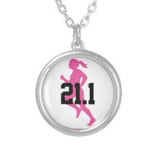 21.1 Half Marathon Girl Customizable Silver Plated Necklace