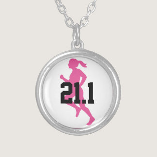 21.1 Half Marathon Girl Customizable Silver Plated Necklace