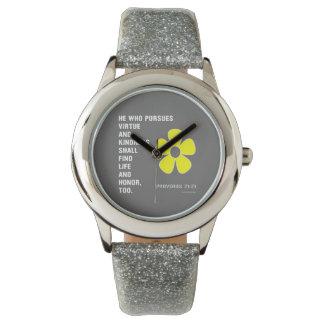 21:21 blanco de los proverbios de la amabilidad relojes de pulsera