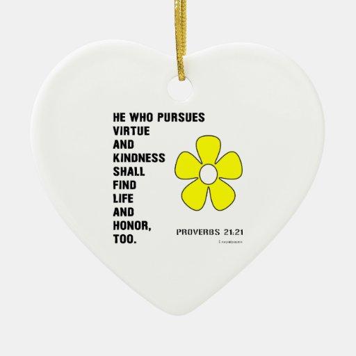 21:21 de los proverbios de la amabilidad adorno navideño de cerámica en forma de corazón