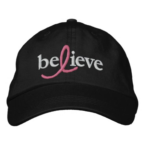 ($21.95) Believe Breast Cancer Ribbon Hat zazzle_embroideredhat