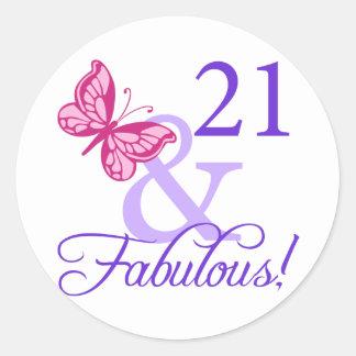 21 And Fabulous Birthday Classic Round Sticker
