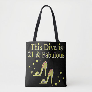 21 AND FABULOUS GOLD SHOE QUEEN DESIGN TOTE BAG