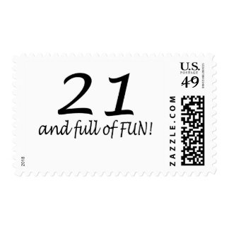 21 And Full Of Fun (Blk) Postage