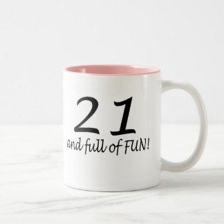21 And Full Of Fun (Blk) Two-Tone Coffee Mug