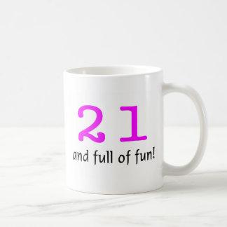 21 And Full Of Fun Pink Black Coffee Mugs