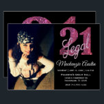 """21 and Legal   Pink Glitter 21st Birthday on Black Invitation<br><div class=""""desc"""">Being 21 and finally legal is a huge milestone! This glam grunge-inspired """"21 and Legal"""" birthday theme features a faux glitter with script overlay for the perfect way to celebrate and memorialize the event. For customizations or other colors, please visit JustFharryn @ Zazzle.com or contact the designer c/o fharryn@yahoo.com #zazzlemade...</div>"""