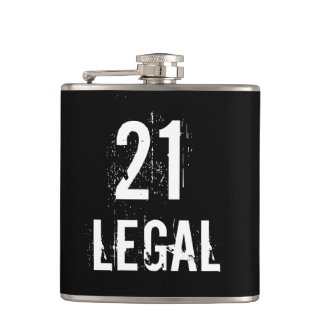 21 and Legal to Drink Grunge Brithday Hip Flask