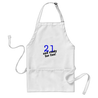 21 And Ready For Fun Blue Aprons