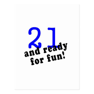 21 And Ready For Fun Blue Postcard