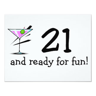 21 And Ready For Fun Martini Card