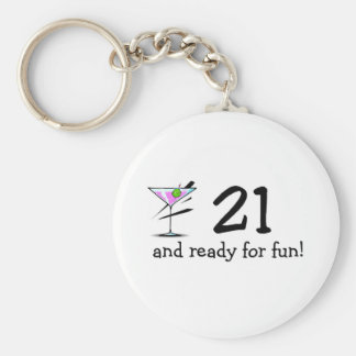 21 And Ready For Fun Martini Keychain
