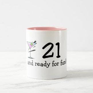 21 And Ready For Fun Martini Two-Tone Coffee Mug
