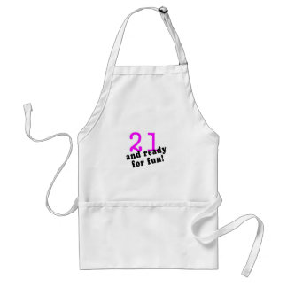 21 And Ready For Fun Pink Adult Apron