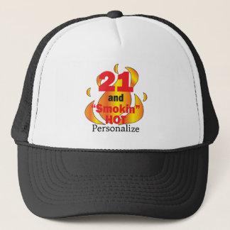21 and Smokin Hot | 21st Birthday | DIY Name Trucker Hat