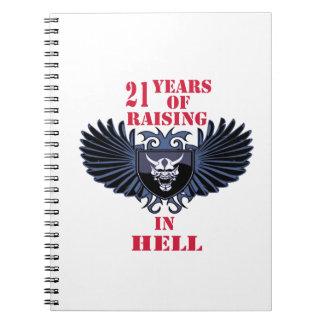 21 años de aumento en infierno libros de apuntes con espiral
