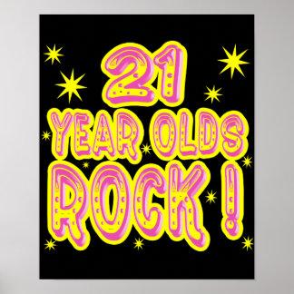 ¡21 años de la roca! Impresión (rosada) del poster
