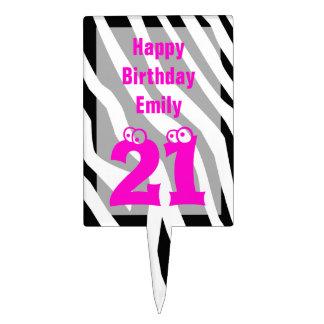 21 Birthday Cake Topper -- 21 on Zebra Print