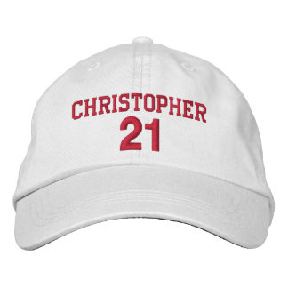 21 Birthday Custom Name Red Embroidery V06 Embroidered Baseball Cap