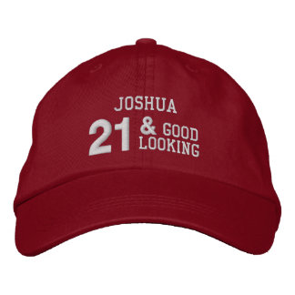21 Birthday Good Looking RED and WHITE W21E Embroidered Baseball Cap