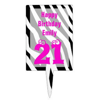 21 Birthday in Pink with Zebra Print Cake Topper