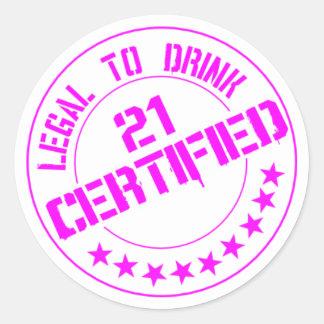 21 Birthday Item Certified Now 21-pink Classic Round Sticker