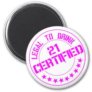 21 Birthday Item Certified Now 21-pink Fridge Magnet