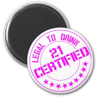 21 Birthday Item Certified Now 21-pink Refrigerator Magnets