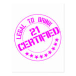 21 Birthday Item Certified Now 21-pink Post Card