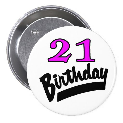 21 Birthday Pink And Black Buttons