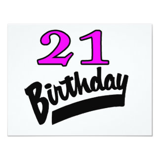 21 Birthday Pink And Black Card