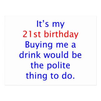 21 buy me a drink postcard