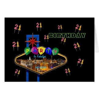 21 CANDLES BIRTHDAY PARTY IN LAS VEGAS Card