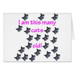 21 Cat Heads Old Greeting Card