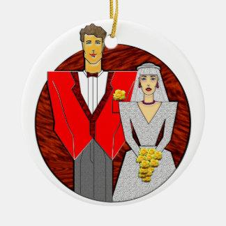 21 Century Wedding Couple Double-Sided Ceramic Round Christmas Ornament
