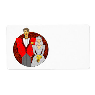 21 Century Wedding Couple Personalized Shipping Labels