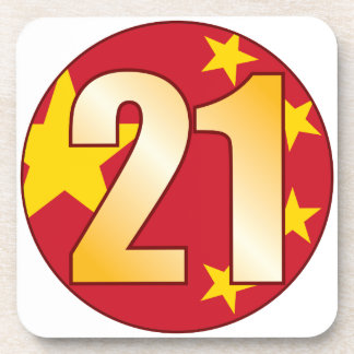 21 CHINA Gold Beverage Coaster