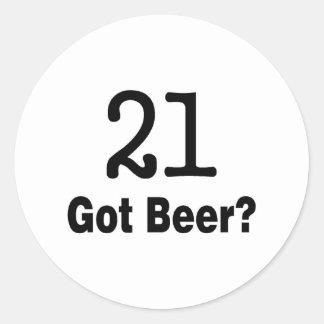 21 consiguió la cerveza pegatina redonda