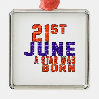 21 de junio una estrella nació adorno cuadrado plateado