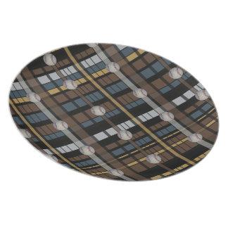 21. Diseño gris negro del béisbol de la tela escoc Plato De Cena