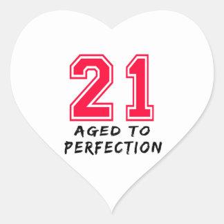 21 envejeció al diseño del cumpleaños de la colcomanias corazon personalizadas